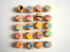 Hand painted  Geometric Natural Wood Beads