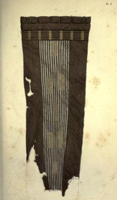 """Detail of a Mammen cloak tie. I.A.A. Worsaae """"Om Mammen-Fundet"""" in Aarboger for Nordisk Oldkyndighed og Historie. 1869. Plate 6"""
