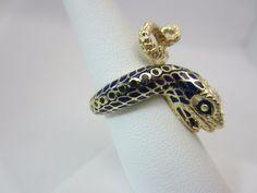 Vintage 14K Yellow gold blue enamel snake ring viper #Snake
