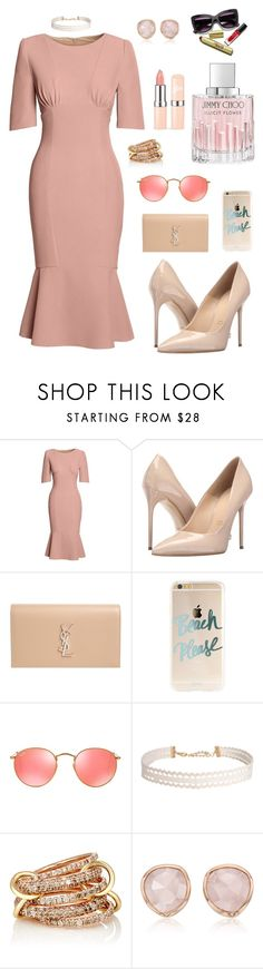 """""""pink"""" by artemisyuri on Polyvore featuring Canvas by Lands' End, Massimo Matteo, Yves Saint Laurent, Ray-Ban, Humble Chic, SPINELLI KILCOLLIN, Monica Vinader and Jimmy Choo"""