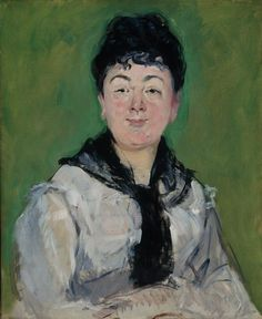 """Portrait of a Woman in a Black Fichu"" by French artist - Édouard Manet Oil on canvas, 61 x 51 cm.), Art Institute of Chicago - Chicago, Illinois, USA. Edouard Manet, Renoir, Olympia, Julie Manet, Diego Velazquez, Munier, Post Impressionism, Portraits, Portrait Art"