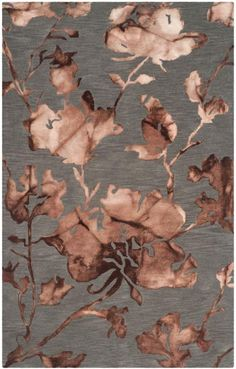 DDY716K Rug from Dip Dye collection.  Supple flowers grace Safavieh's Dip Dye carpet, DDY716K, a beige tie-dyed floral rug made from pure wool, twice-dyed for an artistic mod floor covering.