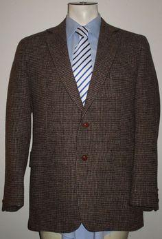 Men's Harris Tweed Brown Sport Coat Blazer - 40R - 100% Wool- 2 Button #HarrisTweed #TwoButton