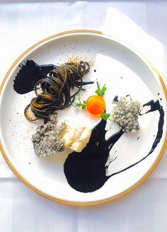 Monkfish, Squid Spaghetti, Bottarga, Tapioca Cracker, Egg