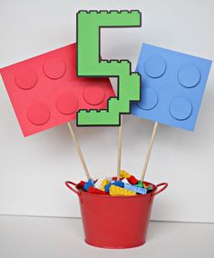 building brick customized birthday party centerpiece sticks /multi-color OR pink/purple / READY-MADE / set of 3 by ILoveYouBunches on Etsy https://www.etsy.com/listing/176972291/building-brick-customized-birthday-party