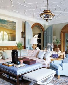 Oh my goodness. love the doors, the light fixture, and the huge ottoman/table!//Steven Gambrel Gives a Historic Tudor Home New Life - ELLE DECOR Tudor Style Homes, Tudor House, Gambrel, Interior Exterior, Elle Decor, Interior Design Inspiration, Design Ideas, Living Spaces, Living Rooms