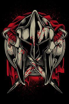 Shirt Projects Vol. 7 on Behance Spartan Tattoo, Samurai Artwork, Spartan Warrior, Game Logo Design, Shirt Print Design, Skull Art, Graffiti Art, Tattoo Drawings, Tattoos