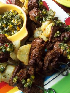 Steak & Potato Alambritos (Kabobs) With Chimichurri - Hispanic Kitchen. easy, and uses inexpensive ingredients! Spanish Dishes, Mexican Dishes, Mexican Food Recipes, Beef Recipes, Cooking Recipes, Mexican Meat, Mexican Chicken, Spanish Food, Mexican Style