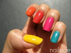 Skittle manicure with Essence Sundancer, What Do U Think?, You're The One, Ultimate Pink, Bella