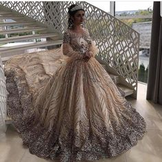 Haute couture wedding gowns can be expensive.  This very beaded design is ornate with lots of handwork and detail.  We are in the USA and can offer couture looking #weddingdresses like this for a reasonable price.  We also can make inexpensive #replicas of couture designs for brides who an not afford the original.  So if your dream gown is discontinued or too pricey email us a picture to see how much a replica would cost from our company.  DariusCordell.com