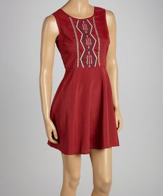 Take a look at this Wine Embroidered A-Line Minidress by Flying Tomato on #zulily today! $23 !!