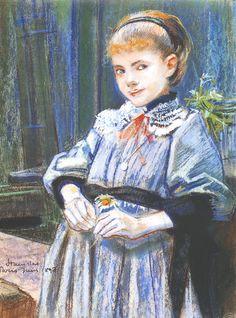 """Stanisław Wyspiański (Polish 1869–1907) """"Portrait of a Girl"""", 1893, pastel, 41 x 31 cm, Lviv Art Gallery, Lviv, Ukraine."""