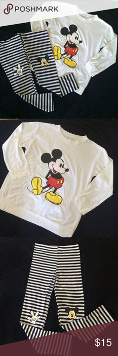 "Mickey Mouse • Set Long sleeve and legging • Never been worn • super cute item ""FIT WOMEN 0-2"" Pants Leggings"