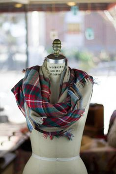 Great Buy On These High Quality Oversized Blanket Scarves. Perfect to fold, twist and wrap into countless styles, these oversized tartan scarves are the perfect weight to layer over your favorite lightweight jacket or winter coat.  100% Cotton, Great Quality Available in 3 Colors: Cream Tartan, Blue & Green, and Red & Black Measures: 55 inches X 55 inches Free shipping on qualifying orders. #bourbonandboots