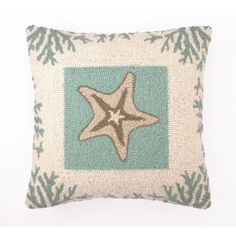 Starfish Pillow with Coral Border