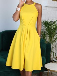 Shop Solid Sleeveless Waist Ruched Casual Dress – Discover sexy women fashion at Boutiquefeel - Woman Casual Cute Dresses, Beautiful Dresses, Casual Dresses, Summer Dresses, Workwear Dresses, Dresses Dresses, Casual Clothes, Elegant Dresses, Wedding Dresses