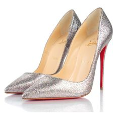 CHRISTIAN LOUBOUTIN Mini Glitter So Kate 120 Pumps 38.5 Grenadine ❤ liked on Polyvore featuring shoes, pumps, high heel stilettos, pointy-toe pumps, christian louboutin pumps, glitter stilettos and multi colored pumps