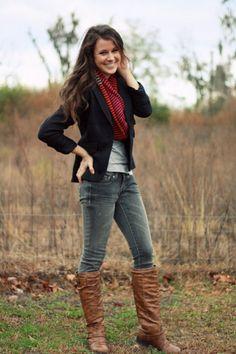 Blazer, scarf, boots.