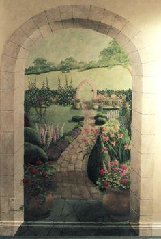 trompe l'oeil murals english garden - Google Search