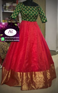 For customising your outfits - whatsapp 9133502232 Half Saree Designs, Lehenga Designs, Blouse Designs, Kalamkari Dresses, Ikkat Dresses, Designer Anarkali Dresses, Designer Dresses, Saris, Frock Models