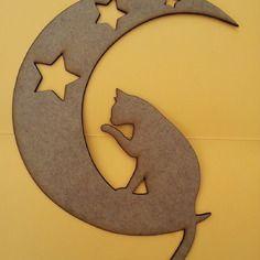 """""""chat sur la lune"""", décoration murale en bois."""