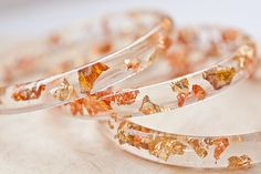 Resin Bangle Bracelet Gold Flakes Small Cuff OOAK by daimblond, €26.00
