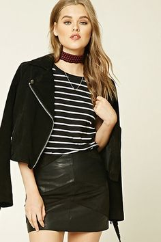 Stripped Tee-Shirt and Faux Leather Skirt