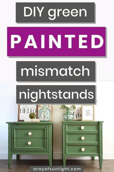 Get this farmhouse modern look on your mismatched nightstands! Painted in emerald green milk paint by The Real Milk Paint Company, these mismatching nightstands feature a chippy green painted finish and new modern knobs! Learn how to coordinate mismatched Green Painted Furniture, Diy Furniture Redo, Bedroom Furniture, Furniture Ideas, Refinished Furniture, Vintage Furniture, Green Nightstands, Diy Nightstand, Bedside Tables
