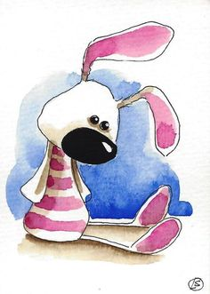 ACEO Original watercolor art whimsical animal painting Easter pink bunny rabbit #Folkartillustration