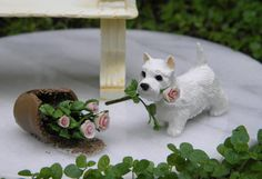 Miniature Dollhouse Fairy Garden West Highland Terrier Dog Broken Pot of Roses