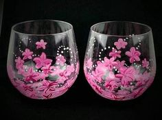 Perfect for Mothers Day Gift for Mom Hand Painted Pink Flower Stemless Wine Glasses Set of Two Mother's Day Gift Idea Stemmed Wine Glasses Decorated Wine Glasses, Hand Painted Wine Glasses, Wine Glass Set, Stemless Wine Glasses, Wine Gifts, Pink Flowers, Decorative Glass, Sparkle, Europe