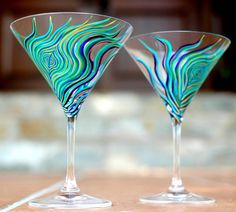 Peacock Martini Glasses--Set of 2 Hand Painted Glasses by Mary Elizabeth Arts