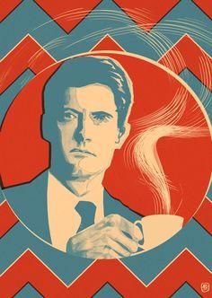 Twin Peaks: Agent Cooper Damn Fine Coffee Print by KimThompsonArt