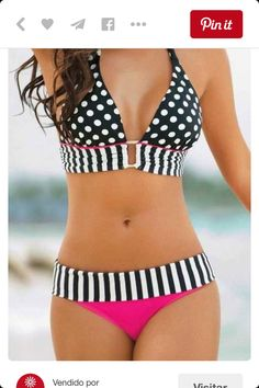 e3141593c7654 2016 Women Padding Push Up Bikini Dot Halter Swimwear Stripe Swimsuit  Brazilian Bikinis Set Bathing Suits Biquini