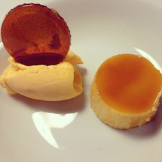 "Delicious desserts in our cooking lessons at Malaca Instituto, Spanish school. ""Flan de turrón con helado de mango"""