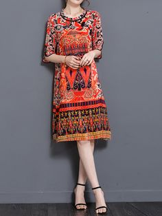 Brand: No Specification: Sleeve Length:Half Sleeve Neckline:O-neck Color:Red Style:Vintage Dress Length:Knee-Length Pattern:Printed Material:Polyester Season:Summer Package included: 1*Dress