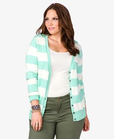 Forever 21 Plus Mint Striped Cardigan