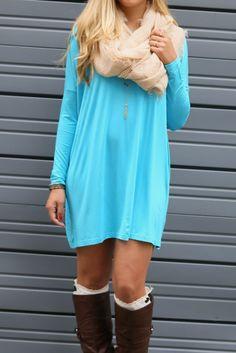 Ellington Turquoise Long Sleeve Piko Dress Warm Dresses, Cute Dresses, Cute Outfits, Piko Dress, Lace Outfit, Fashion Beauty, Womens Fashion, New Fashion Trends, Comfy Casual