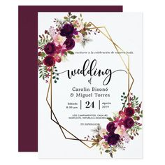 Shop Boho bordo geometric wedding bridal shower invitation created by creativepress. Personalize it with photos & text or purchase as is! Beautiful Wedding Invitations, Watercolor Wedding Invitations, Floral Invitation, Floral Wedding Invitations, Bridal Shower Invitations, Event Invitations, Invitations Online, Invitation Wording, Invitation Templates