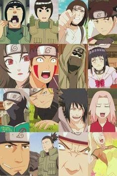 Team Guy: Guy, Lee, Neji, Tenten, Team (8) Kurenai: Kurenai, Kiba, Shino, Hinata, Team (7) Kakashi: Kakashi, Naruto, Sasuke, Sakura, Team (10) Asuma: Asuma, Shikamaru, Choji, Ino