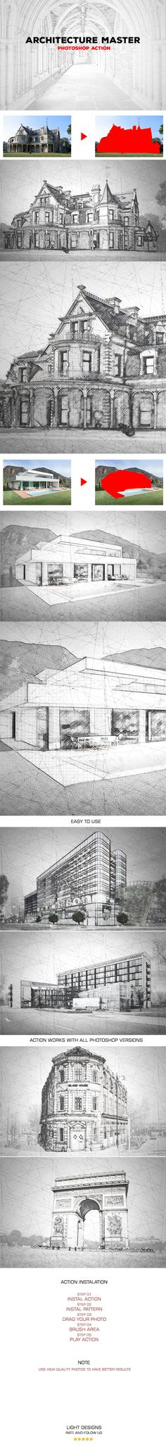 Architecture Master  Photoshop Action #33 — Photoshop PAT #architecture #handdrawing • Available here → https://graphicriver.net/item/architecture-master-photoshop-action-33/18591398?ref=pxcr