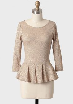 Shimmering Glow Lace Peplum Top 36.99 at shopruche.com.