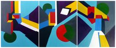 An abstract triptych in acrylics by French artist Isabelle Carré (ISAK) of the Hangar Artists - Abstract Vibrations IV