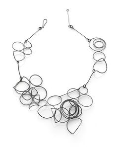Line Drawing No. 5. oxidized sterling silver necklace by Amy Tavern