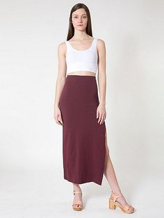 2490df580b2b Cotton Spandex Slit Maxi Skirt Cotton Spandex
