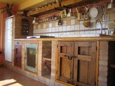 the brick kitchen - Kitchen design ıdeas Rustic Kitchen Cabinets, Diy Kitchen, Kitchen Decor, Kitchen Brick, Kitchen Rustic, Cuisines Diy, Küchen Design, Interior Design Kitchen, Country Kitchen