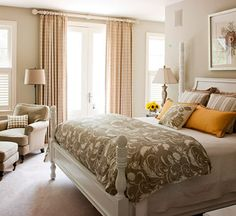 15 Bedroom Decorating Tips. Create a dreamy bedroom with these decorating pointers, furniture ideas, and design tips. Bedroom Color Schemes, Bedroom Colors, Bedroom Yellow, Bedroom Neutral, Pink Bedrooms, Bedroom Black, Small Bedrooms, Bedroom Designs, Dream Bedroom