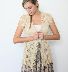 """Vintage crochet boho knit vest in cream beige"""