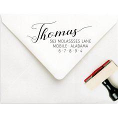Self Inking Address Stamp - Calligraphy Address Stamp - Modern Wedding Invitation Stamp - Last Name Address Stamp -  Handwriting Stamp by SouthernPaperAndInk on Etsy