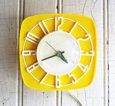 Vintage Yellow And White Kitchen Wall Clock Mid Century 1950s Ge General Electric Great Sunny Color